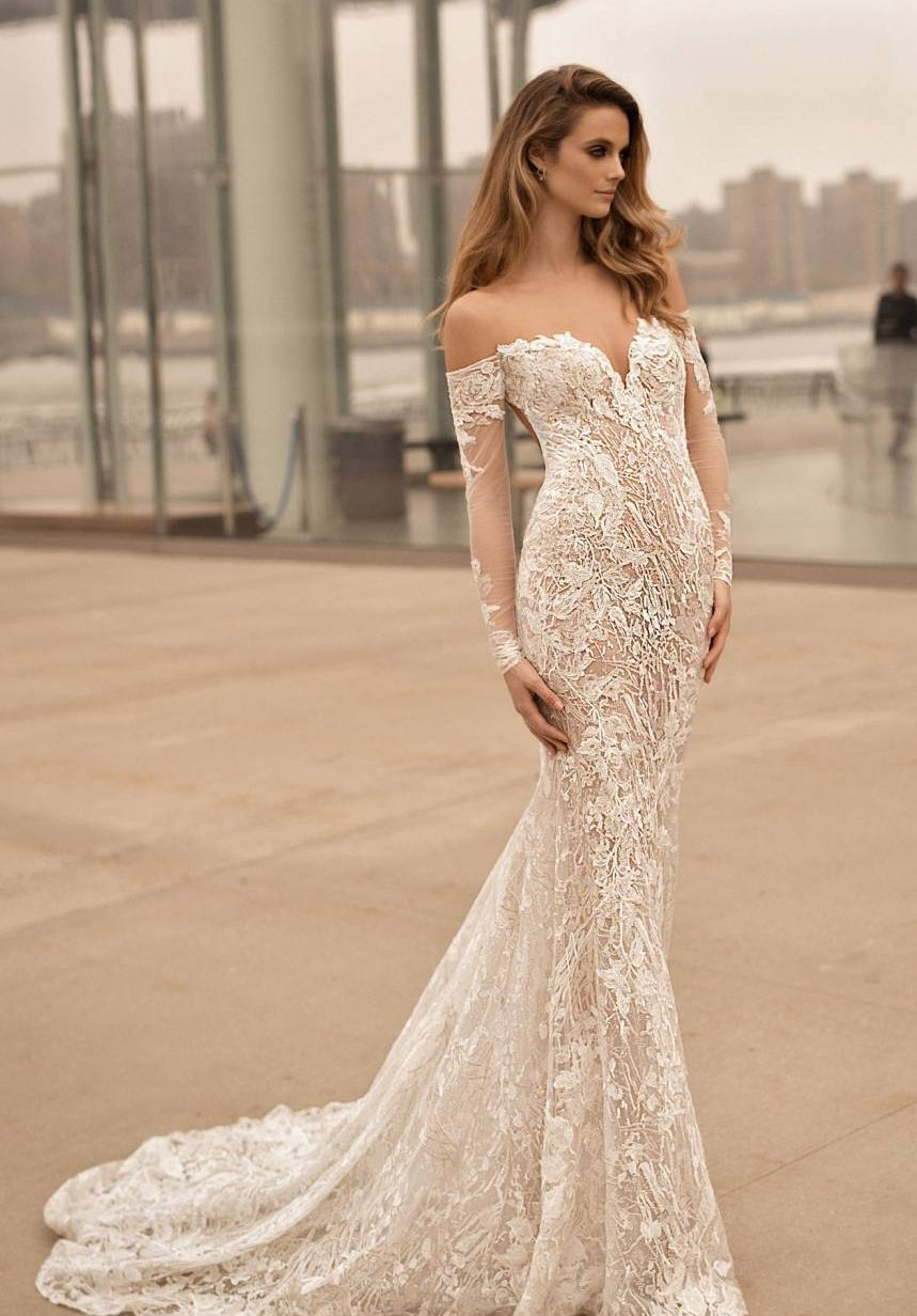 Long Sleeve Illusion Off the Shoulder Mermaid Gown - make your wedding dress- image via Nordstrom.com